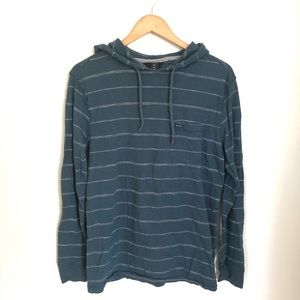 VOLCOM STRIPED PULLOVER HOODIE BLUE SIZE SMALL